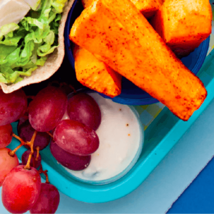 Chicken Pita Pocket + Sweet Potato Fingers